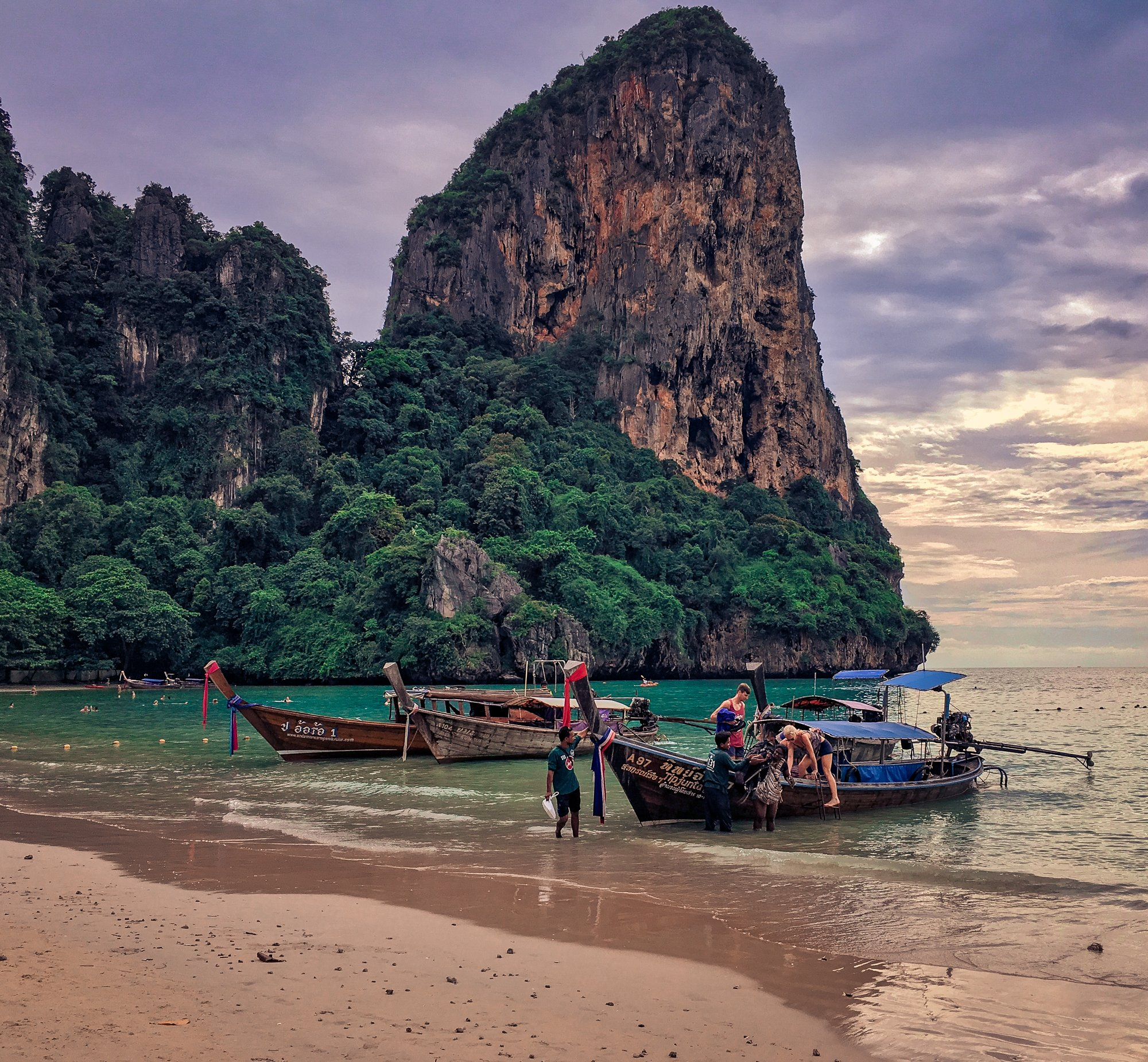 Longtail Boats and Karsts on Railay Beach Krabi Thailand