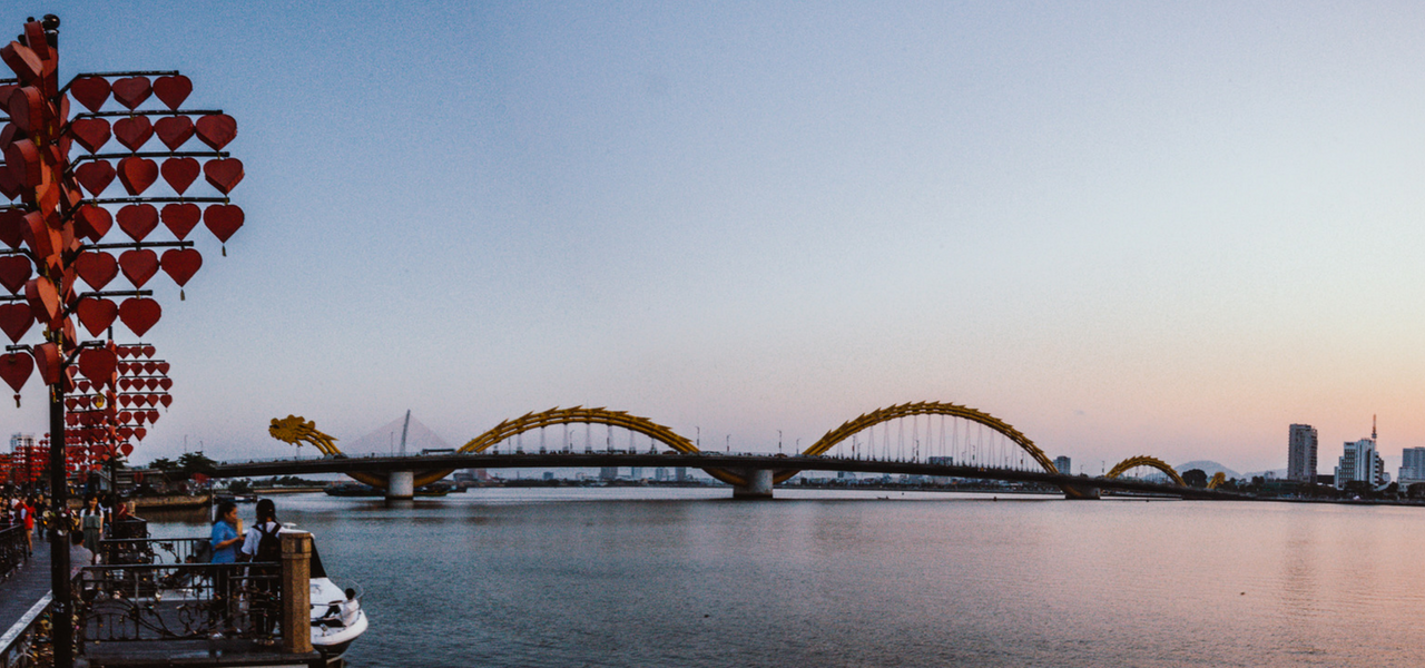View of Dragon Bridge from Han Riverfront Da Nang, Vietnam