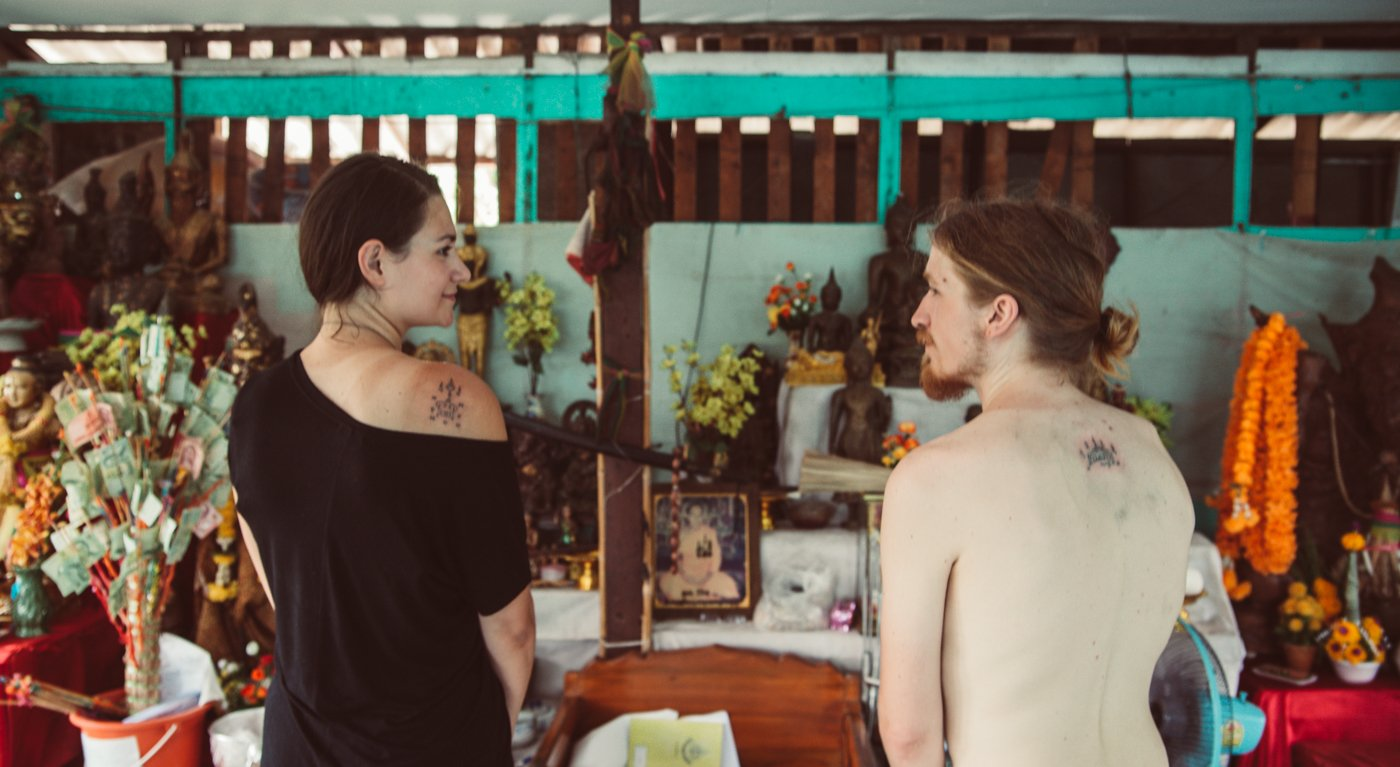 Our Fresh Sak Yant Tattoos after our Sak Yant Ink Experience with WSE Travel in Ayutthaya Thailand