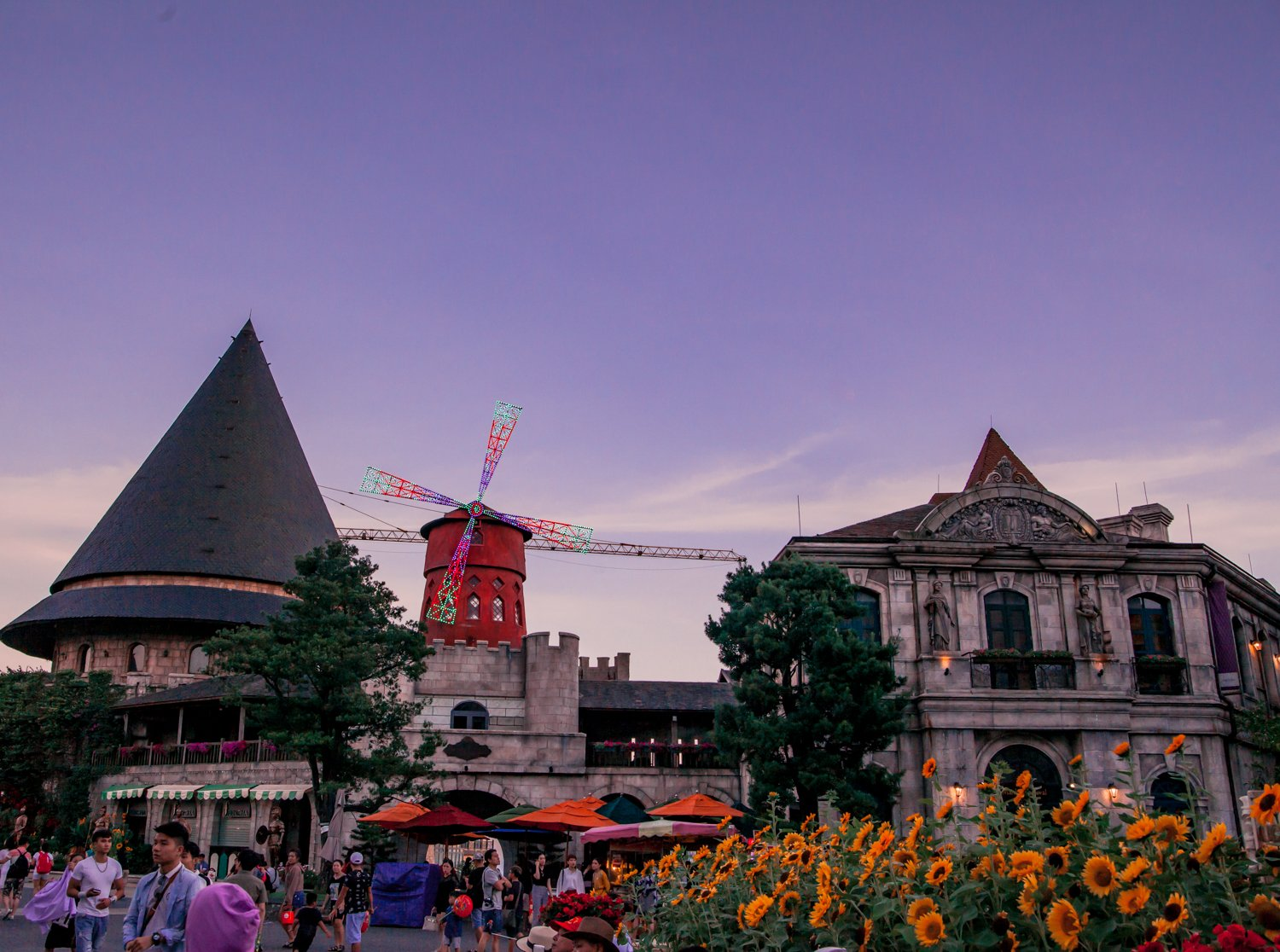 The Moulin Rouge during sunset at Ba Na Hills