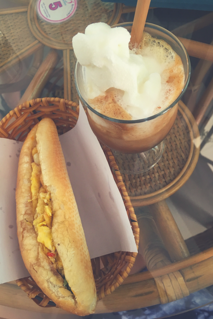 banh mi and coconut coffee at THANH TAM Coffee and Bakery Local Da Nang Restaurants