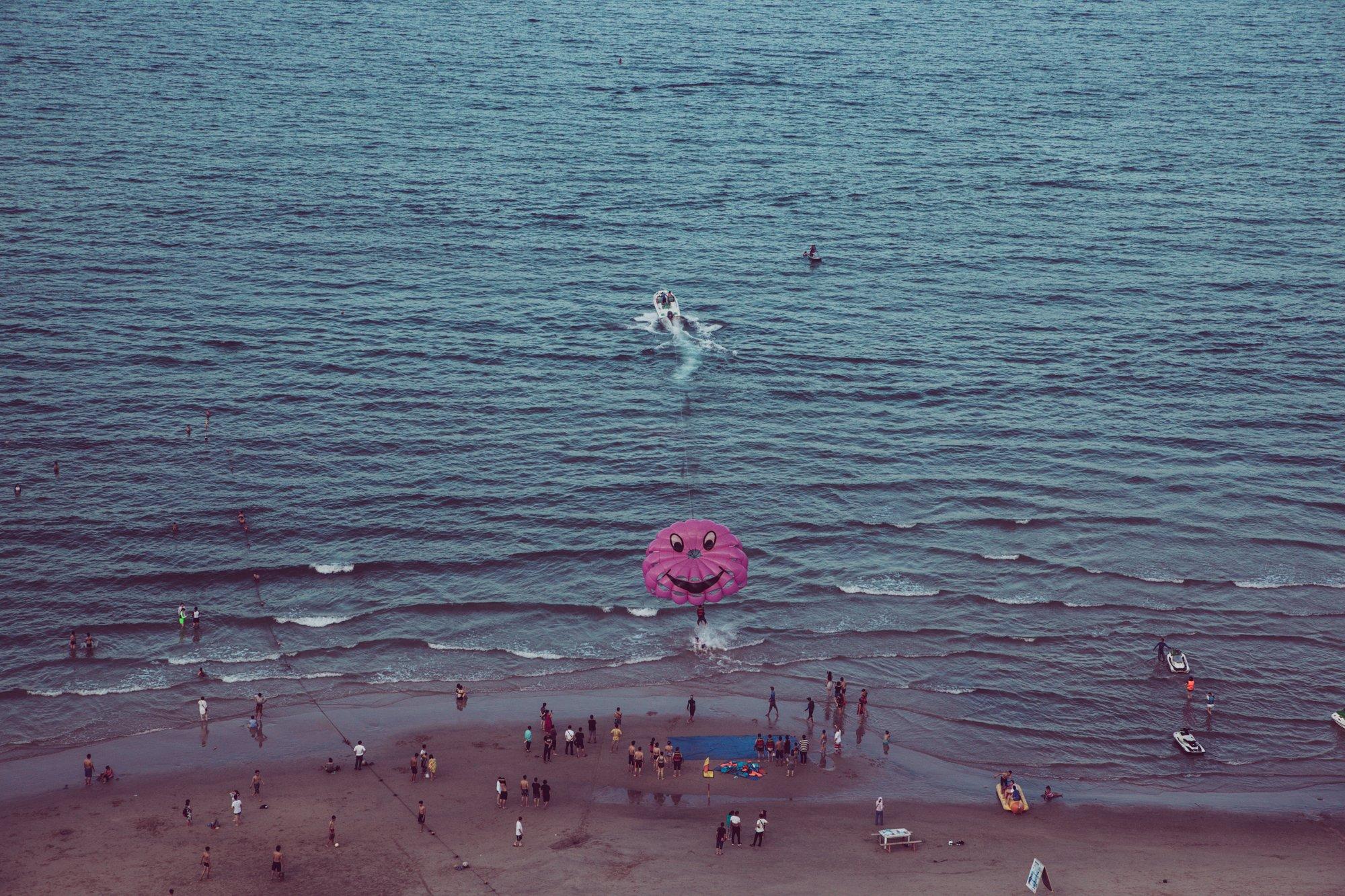 parasailing at my khe beach in da nang vietnam