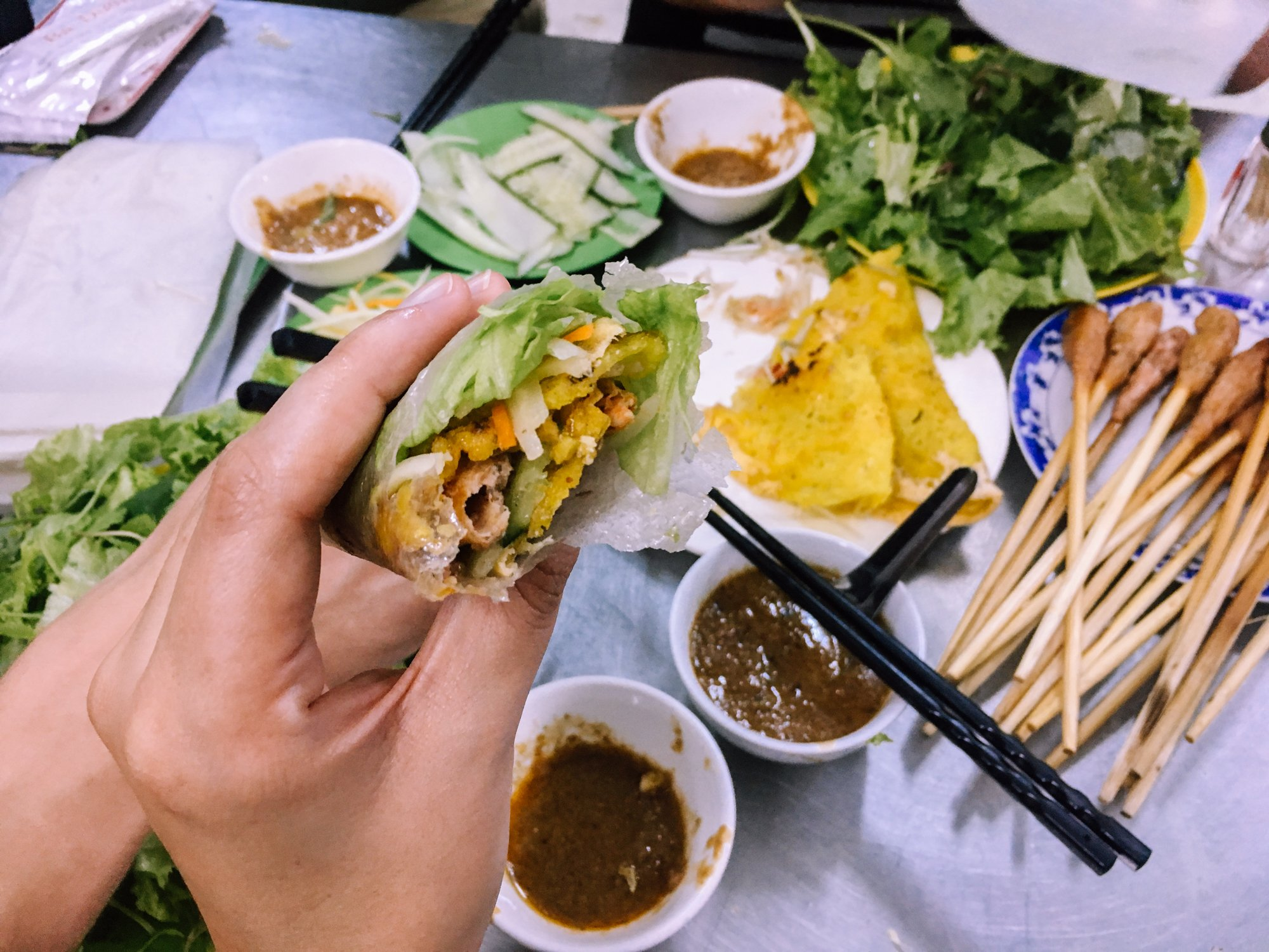 Try Vietnamese Pancakes (Banh Xeo) on the Funtastic Food Tour in Da Nang Vietnam