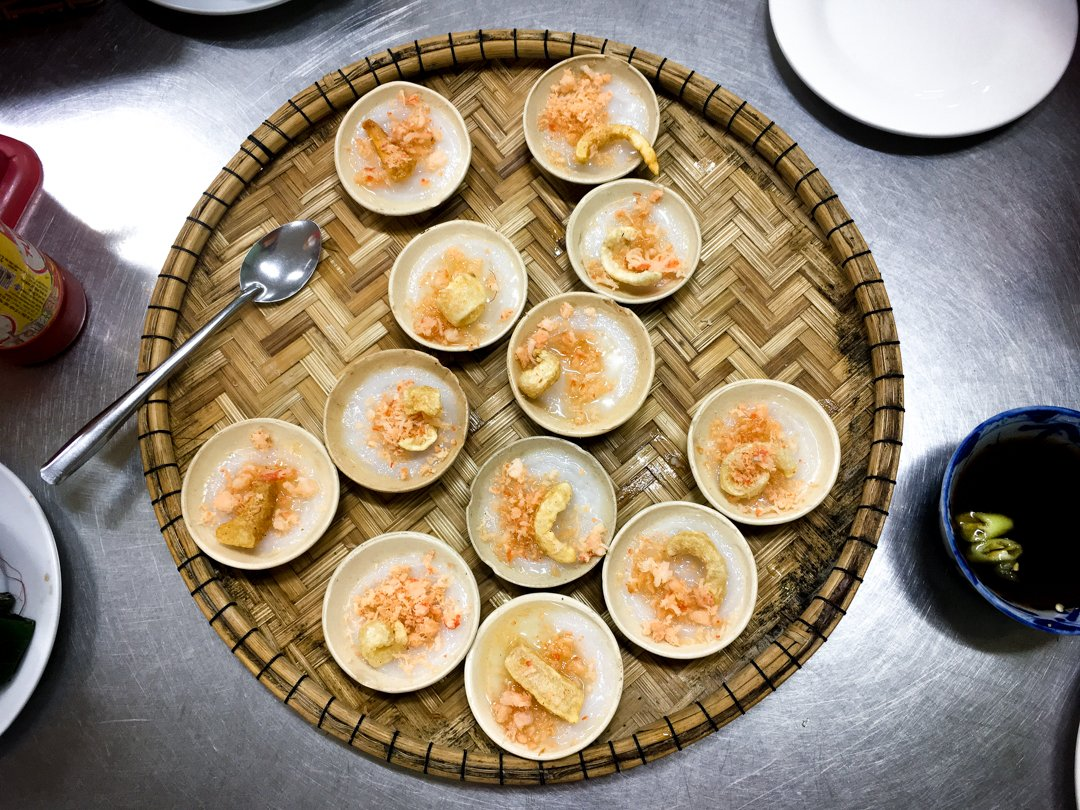 Banh Beo a typical Vietnamese food from Hue Vietnam are tiny rice cakes with shrimp, and pork cracklins