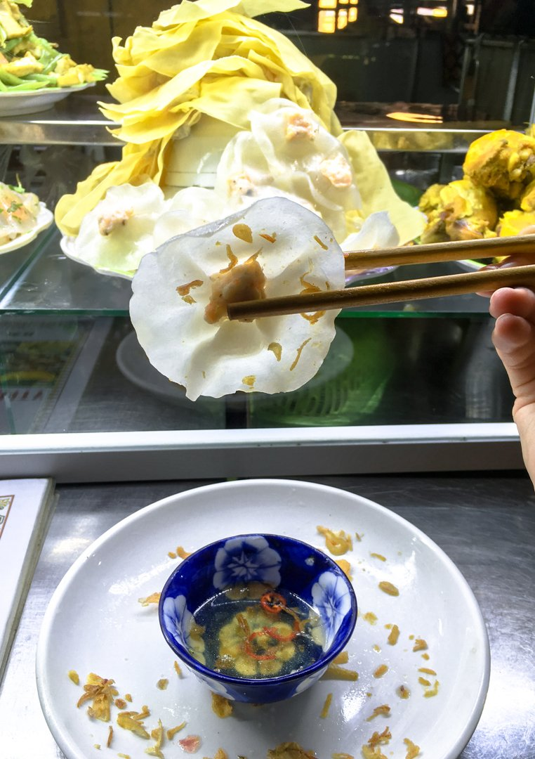 White Rose dumplings are a Hue Specialty in Viet Cuisine.