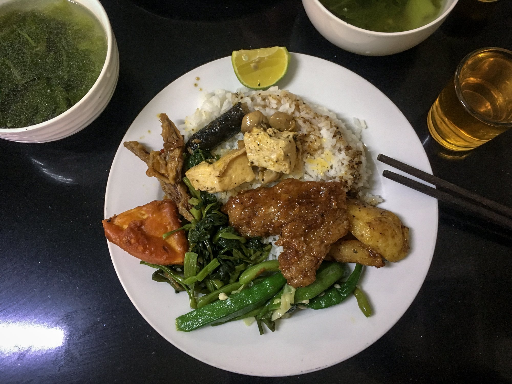 Com Chay mixed plate Vegetarian food in Vietnam