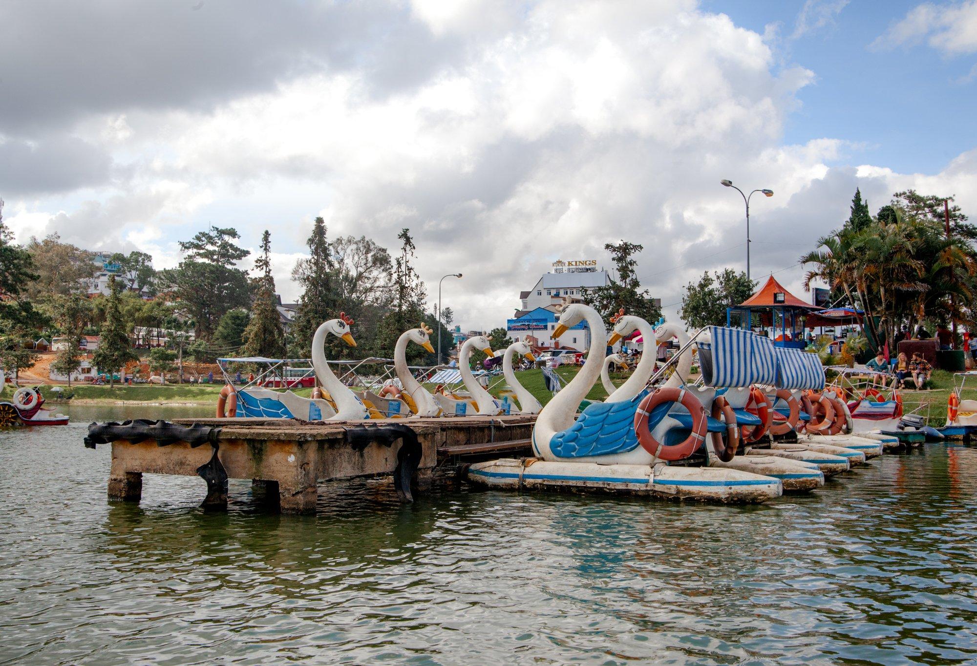 Swan Boats at the dock in Dalat Vietnam
