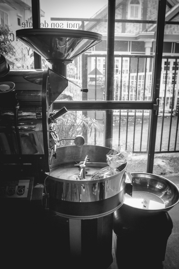 Black and White photo of coffee roaster machine