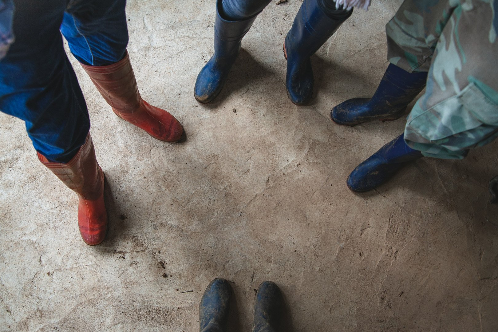 four pairs of feet with different colored rain boots