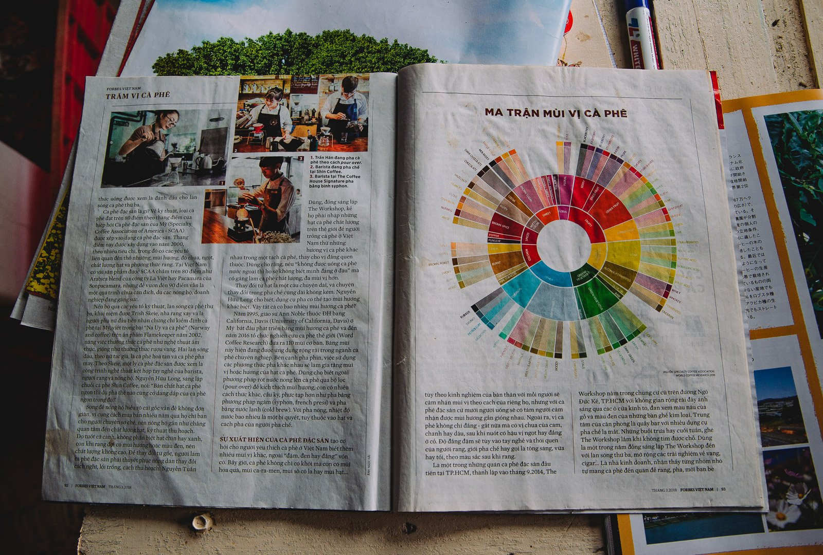 An open magazine displays the coffee tasting wheel