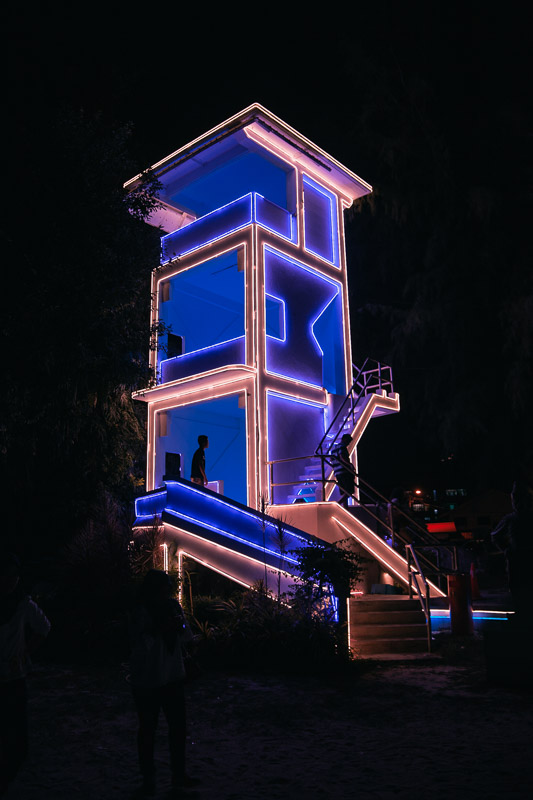 Look out Tower with funky lights on the beach at the Avatar Secret Garden Penang