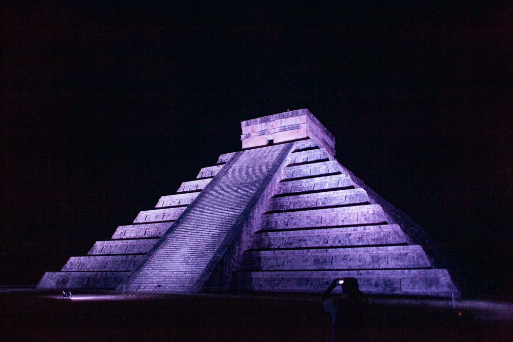 Chichen Itza El Castillo purple light