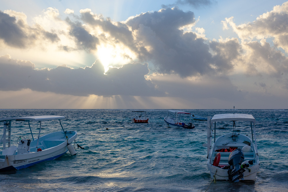Boats in the water at Puerto Morelos