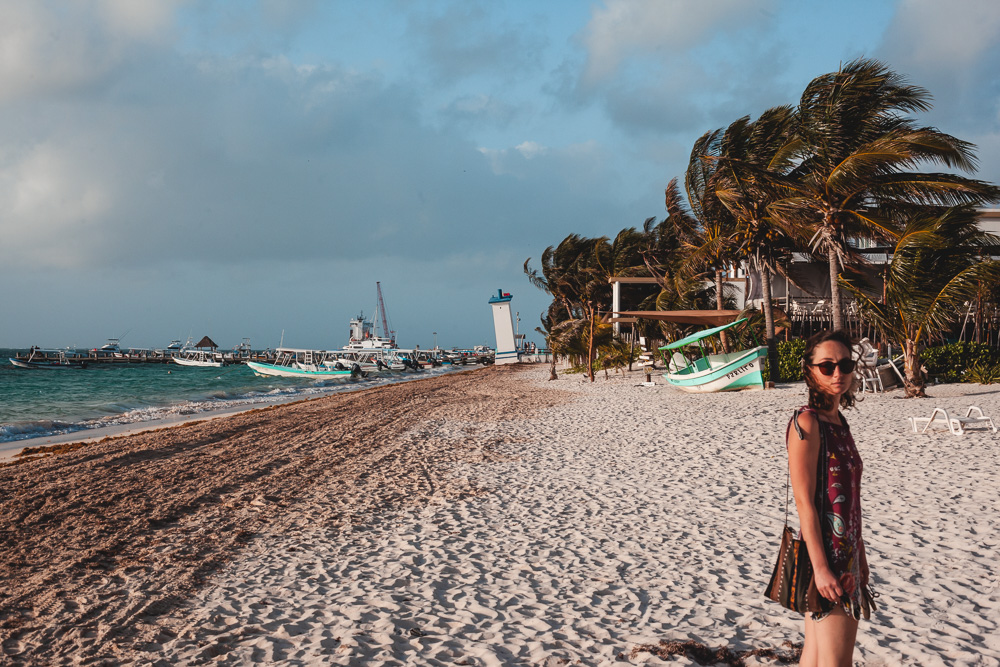 Walking on the beach at Puerto Morelos