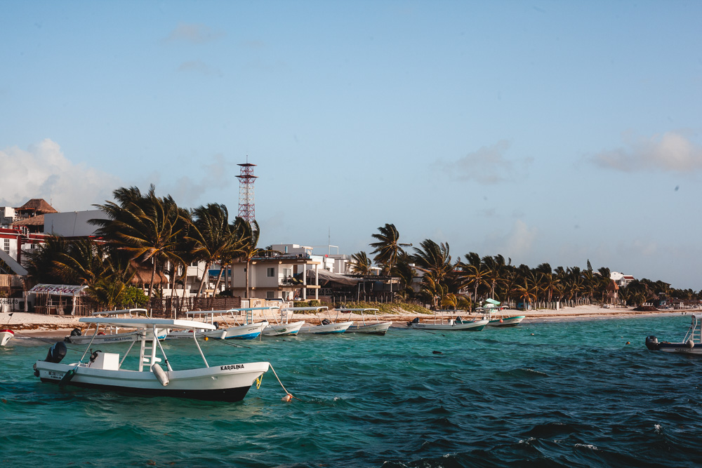 Docked boats at Puerto Morelos, Mexico