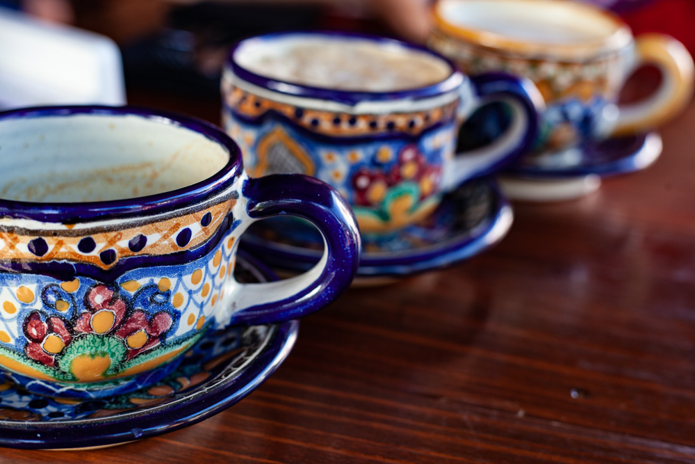Colorful ceramic coffee cups