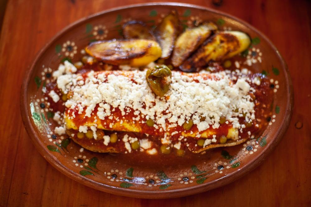 Huevos Motuleños from Maiz, Canela y Cilantro in Mérida, Mexico