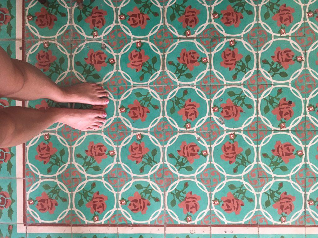 rose patterned tile floor