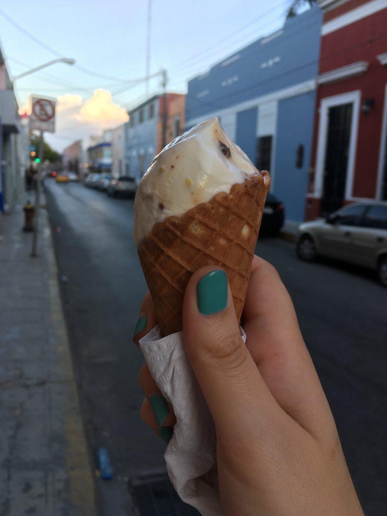 sour orange cherry ice cream cone