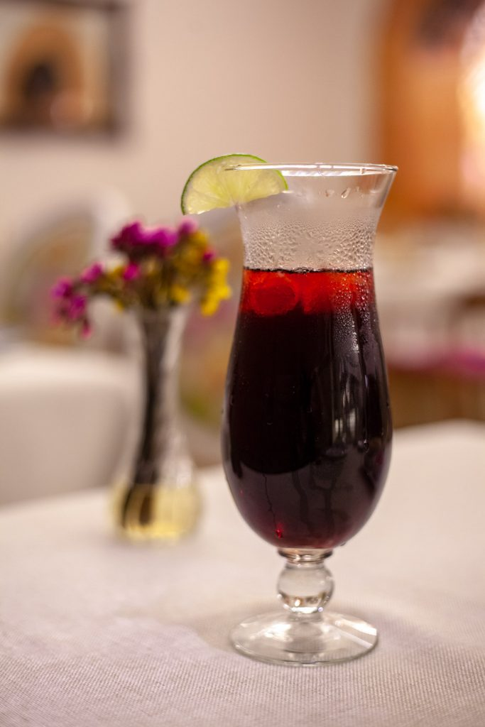 Glass of red hibiscus juice