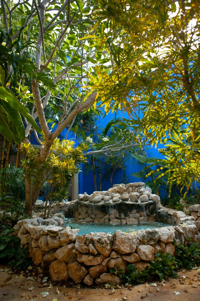 A relaxing Merida garden with waterfall fountain