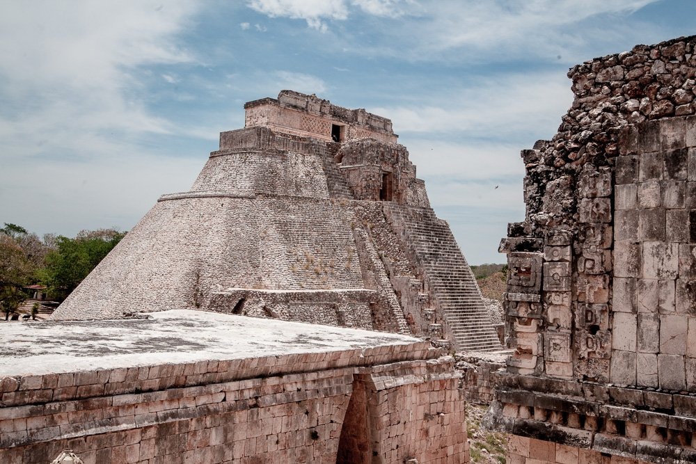 The pyramid at Uxmal with rounded corners