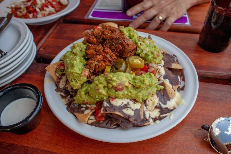Plate of loaded nachos