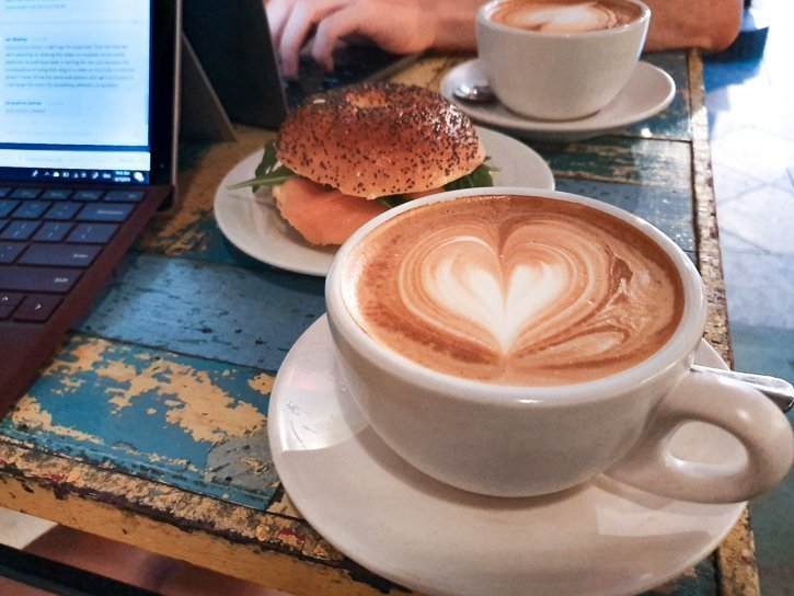 Latte and salmon bagel while working from Mugshot cafe in Georgetown Penang