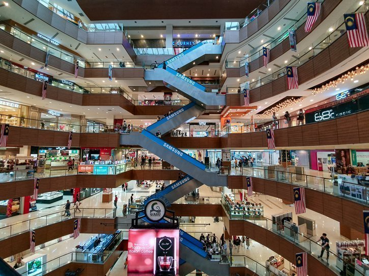 Wide angle view of all the floors of Gurney Plaza Shopping Mall in Penang Malaysia