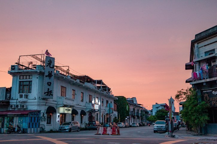 Sunset over Chulia Street in Georgetown Penang