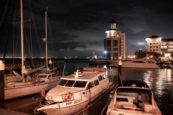 boats at the marina in Straits Quay at night