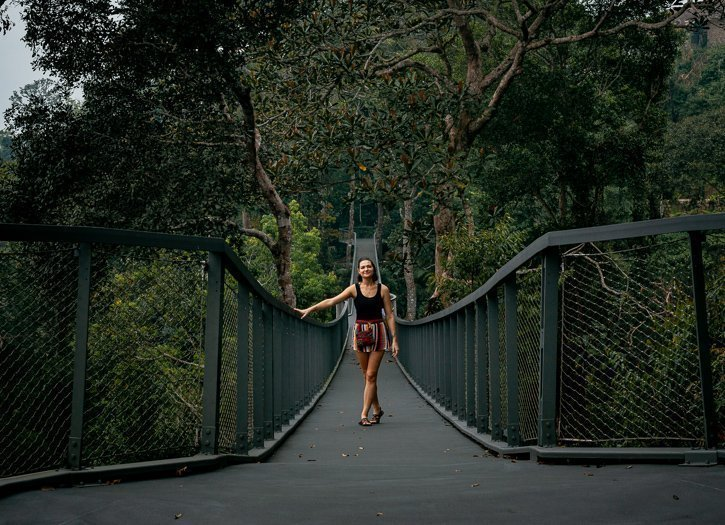 Gabi on the Langur Way Canopy walk suspension bridge at The Habitat in Penang Malaysia