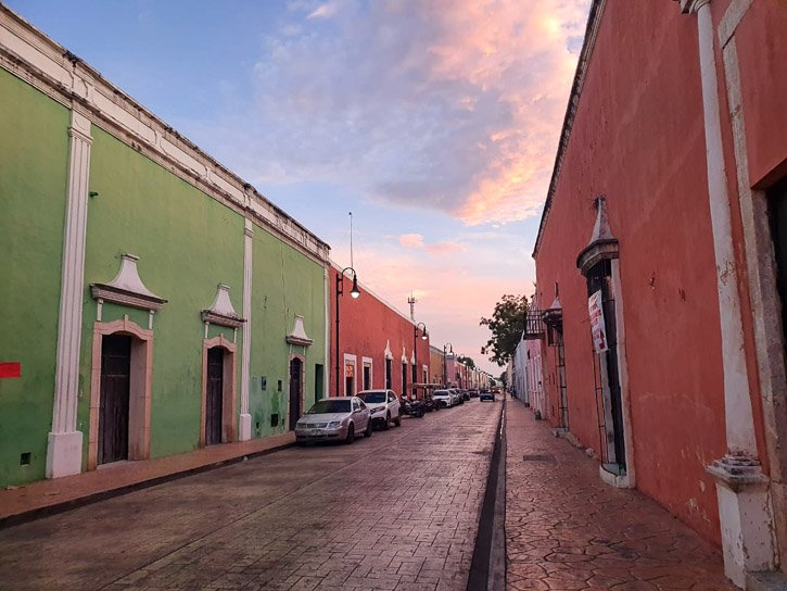 Colonial buildings in Valladolid Mexico