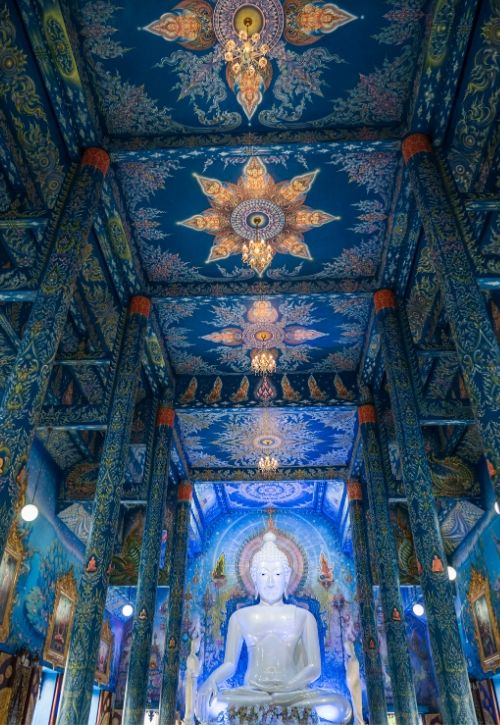 Interior and ceiling View of the Blue Temple in Chiang Rai